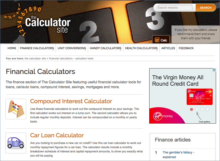 Screenshot of The Calculator Site