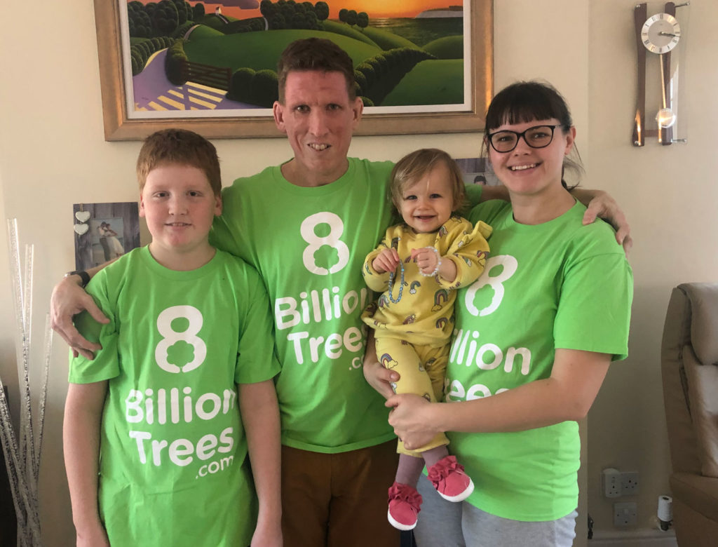 The Hazell Family wearing t-shirts for 8 Billion Trees